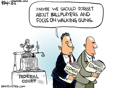 Editorial cartoon by Chip Bok says prosecutors should shift focus from roger clemens to gun walking