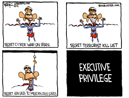 funny Obama cartoon by political cartoonist Chip Bok about executive privilege