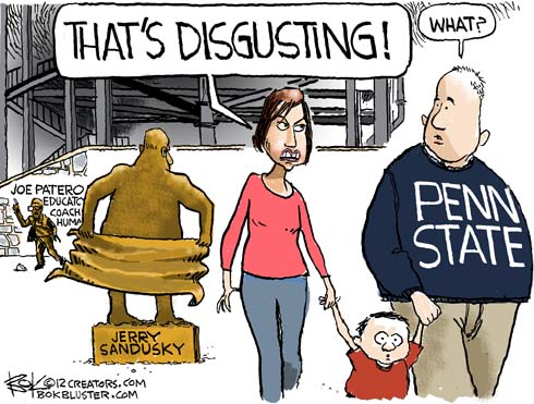 Jerry Sandusky spoof monument that visitors see as disgusting depicted in funny editorial cartoon by Chip Bok