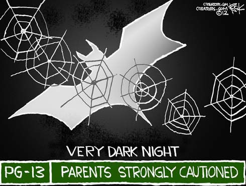 A very dark knight, parents strongly cautioned that a lunatic may shoot people in the theater