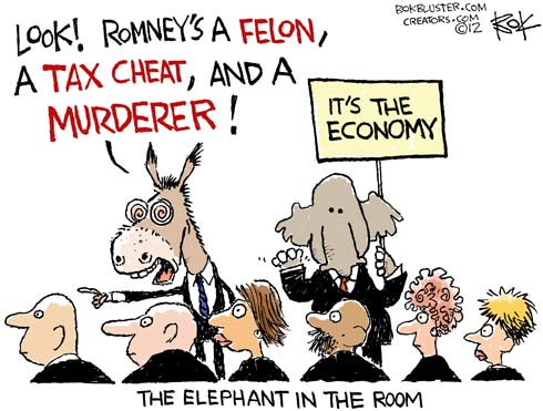 Funny Romney political cartoon by Chip Bok shows Obama camp labeling Romney as a felon, tax cheat, and murderer