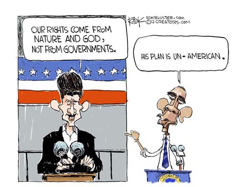 Funny political cartoon by Chip Bok featuring Paul Ryan's Plan and Brack Obama's thought about the Ryan Plan