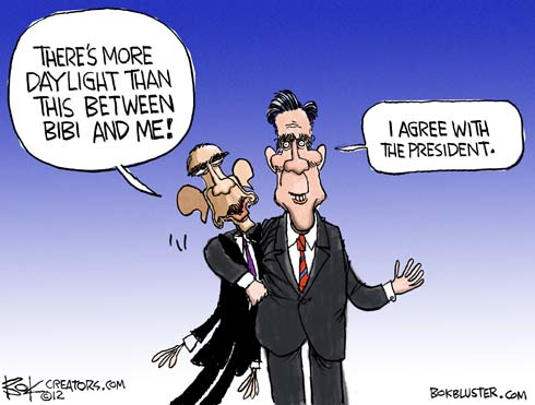 Cartoon depicts how Romney and Obama were often in agreement about foreign policy during the debate. Romney embraces Obama