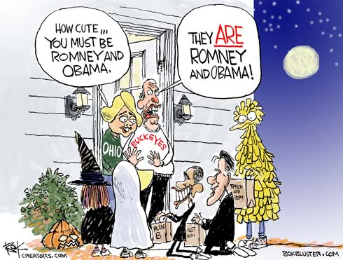 "Trick or treat cartoon. Couple answers door and say ""how cute, you must be Romney and Obama."""