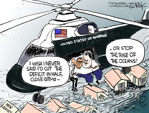 Political cartoon of Obama and Chris Christie flying over the hurricane sandy aftermath in a helicopter