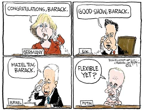 Cartoon depicts Obama being congratulated by leaders from Germany, the U.K., Israel, and Russia after winning the 2012 presidential election