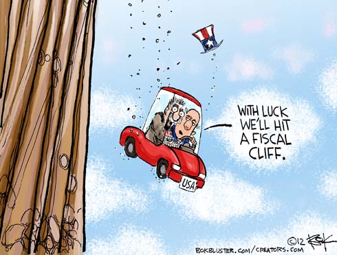 Funny political cartoon shows car falling and the driver hopes to hit the fiscal cliff