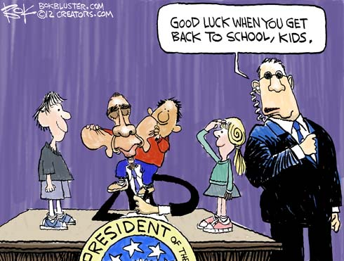 "Obama Secret Service guy says ""good luck when you get back to school, kids."""