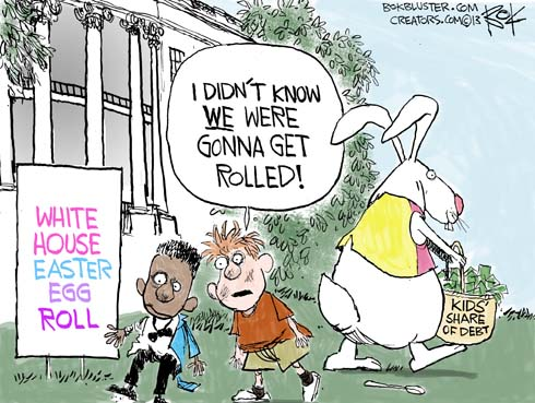 """At The White House Easter Egg Roll, a boy tells another boy """"I didn't know we were gonna get rolled (with debt)."""""""