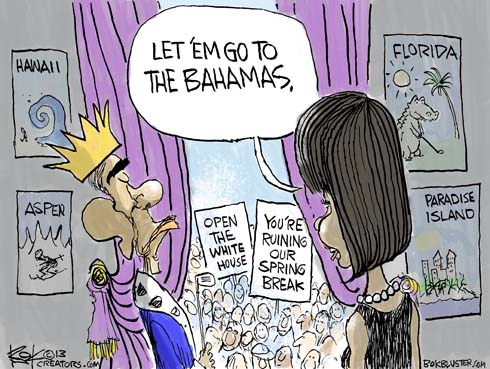 """As students ask Barack Obama to open the White House for Spring Break, Michelle Obama says """"let em go the The Bahamas."""""""