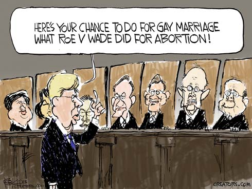 "Justice Kennedy addresses Supreme Court saying ""here's your chance to do for gay marriage what Roe v Wade did for abortion."""