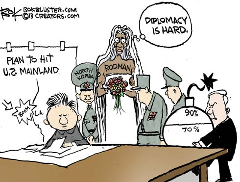 """Dennis Rodman wears a dress on his visit to North Korea and says """"diplomacy is hard."""""""