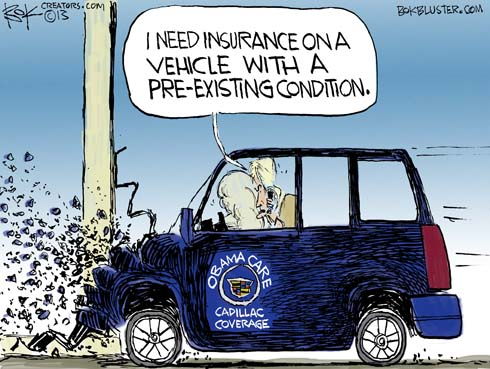 """The Obamacare Cadillac hits a wall and driver says """"I need insurance on a vehicle with a pre-existing condition."""""""