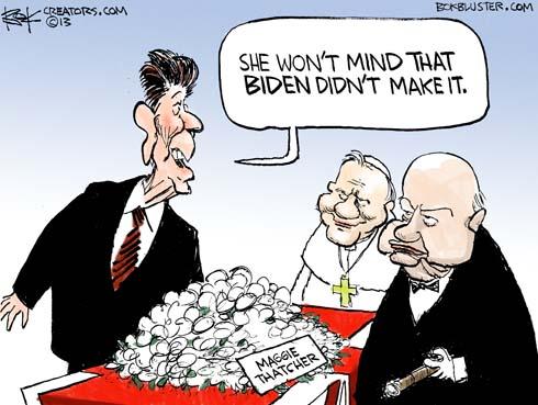 Ronald Reagan says that Margaret Thatcher won't mind that VP Biden didn't make it to her funeral.
