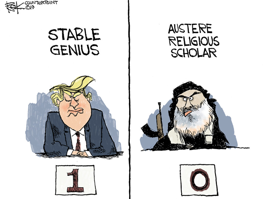 Counterpoint, Trump, al Baghdadi, assassination, stable genius, austere religious scholar