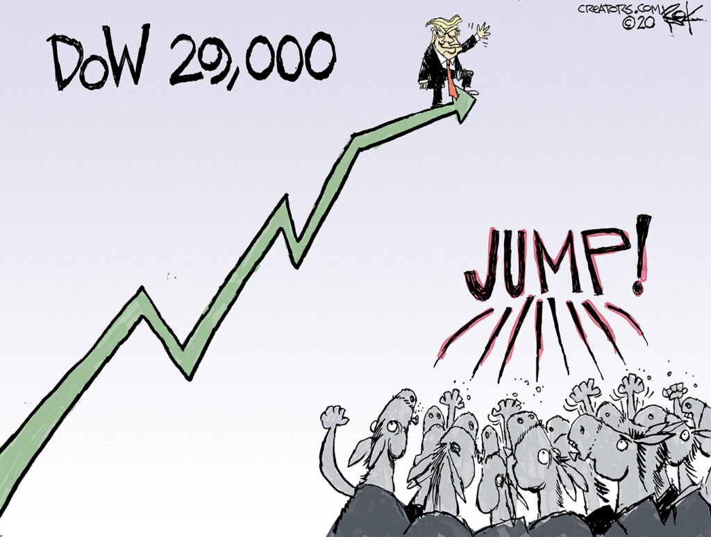 The stock market hit record highs. Trump's bragging. And Democrats are impeaching. Just like Republicans when the market jumped on Clinton's watch.
