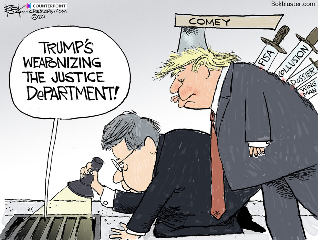 weaponizing the Justice Department, Trump, Barr, Comey, FISA, Dosier,