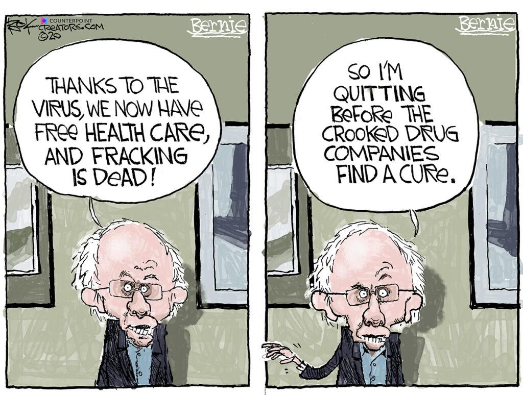 Bernie quits, health care, fracking, virus