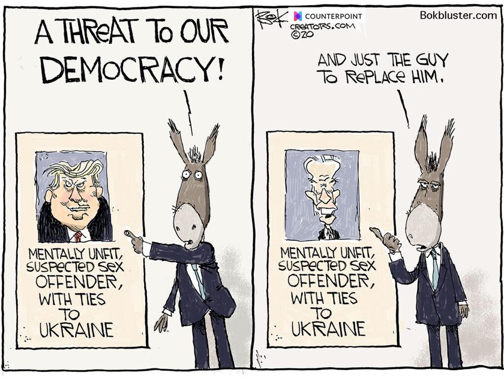 threat to our democracy, biden and trump, mentally unfit, sex offender, Ukraine