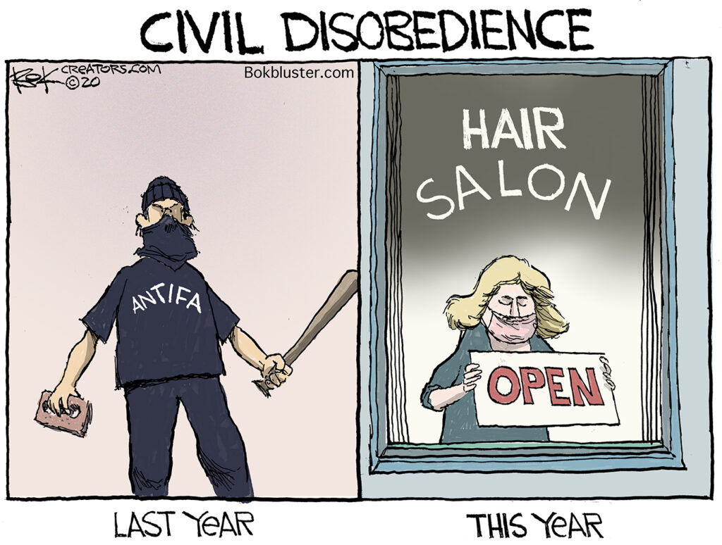 Civil Disobedience, hair salon, barber shop, corona virus
