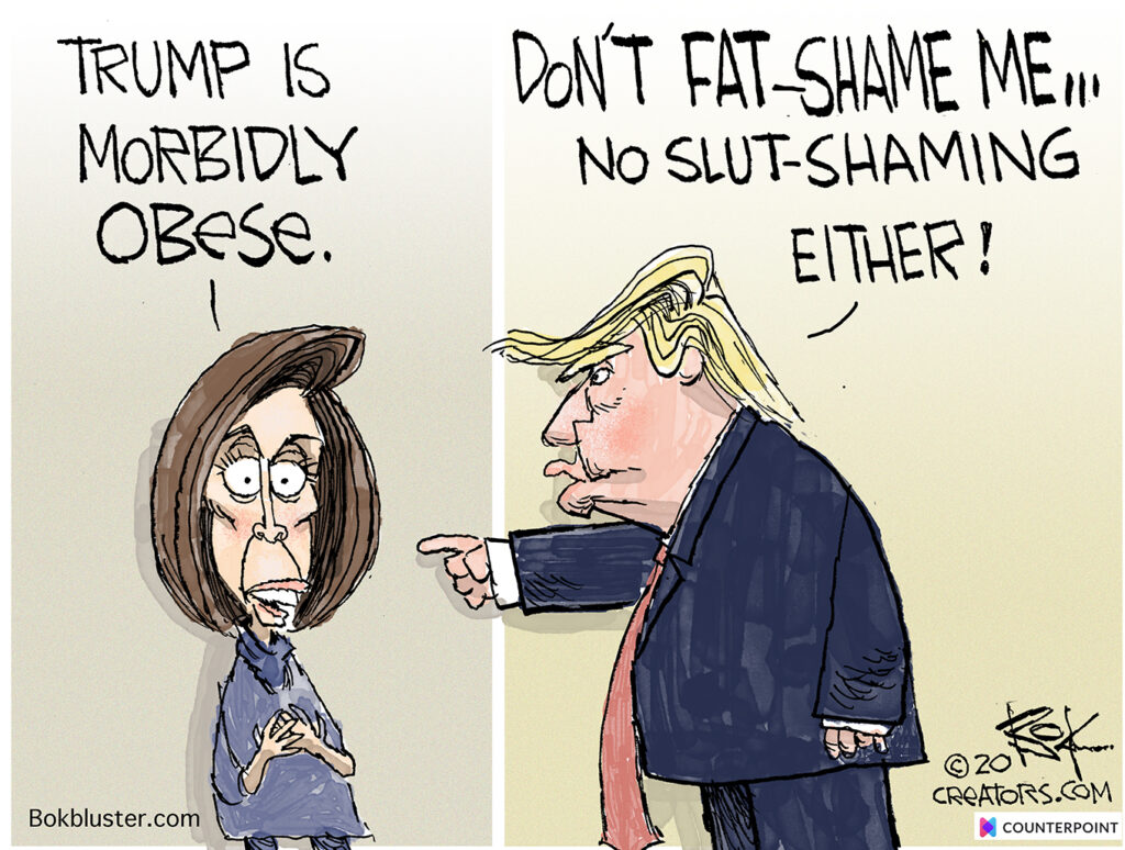 Pelosi / Trump Counterpoint, morbidly obese, fat shaming, slut shaming