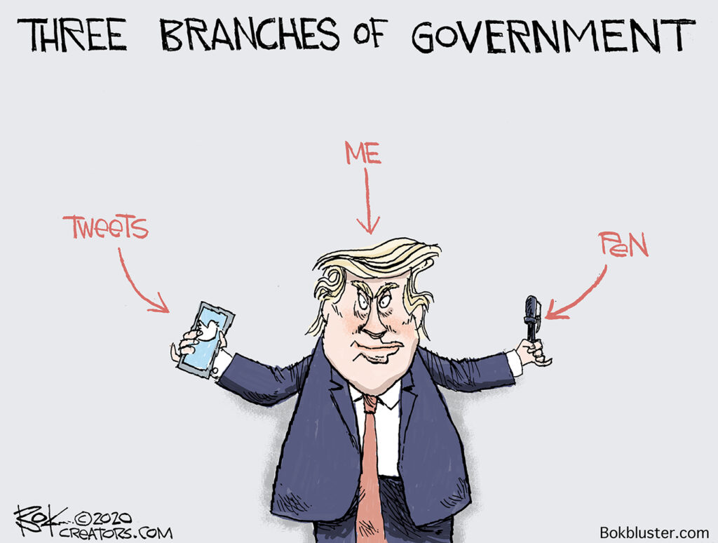 snatching power, trump, pen and tweets, three branches of government