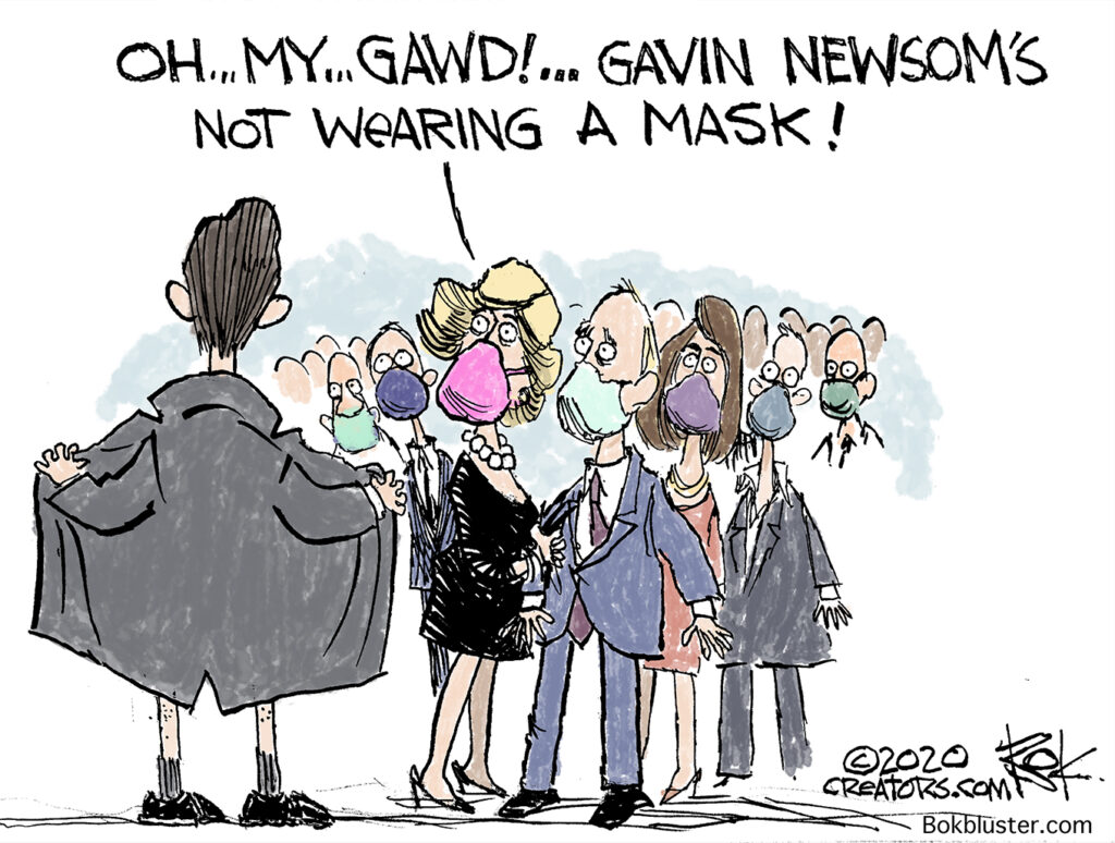 gavin newsom, unmasked, french laundry