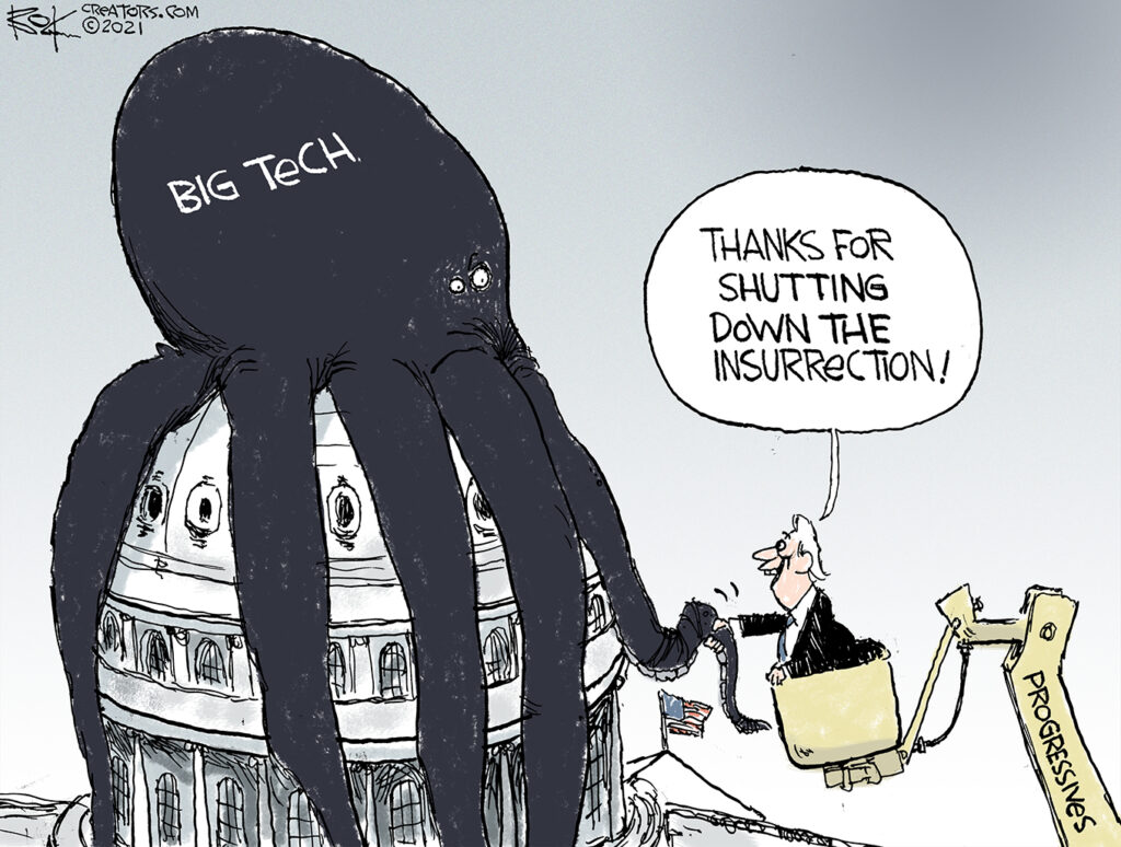 Big tech, progressives, octopus cartoon