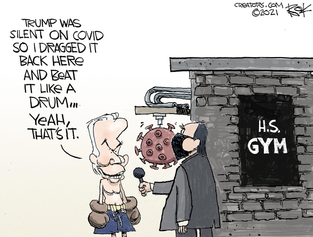 Trump vaccine effort, biden, behind the gym